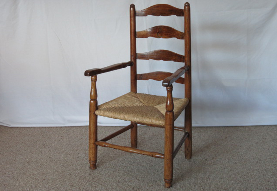 Mid 19th century child's ash ladder back chair