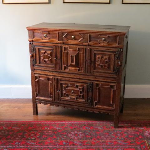 18th century oak and ornamental veneered geometric cupboard