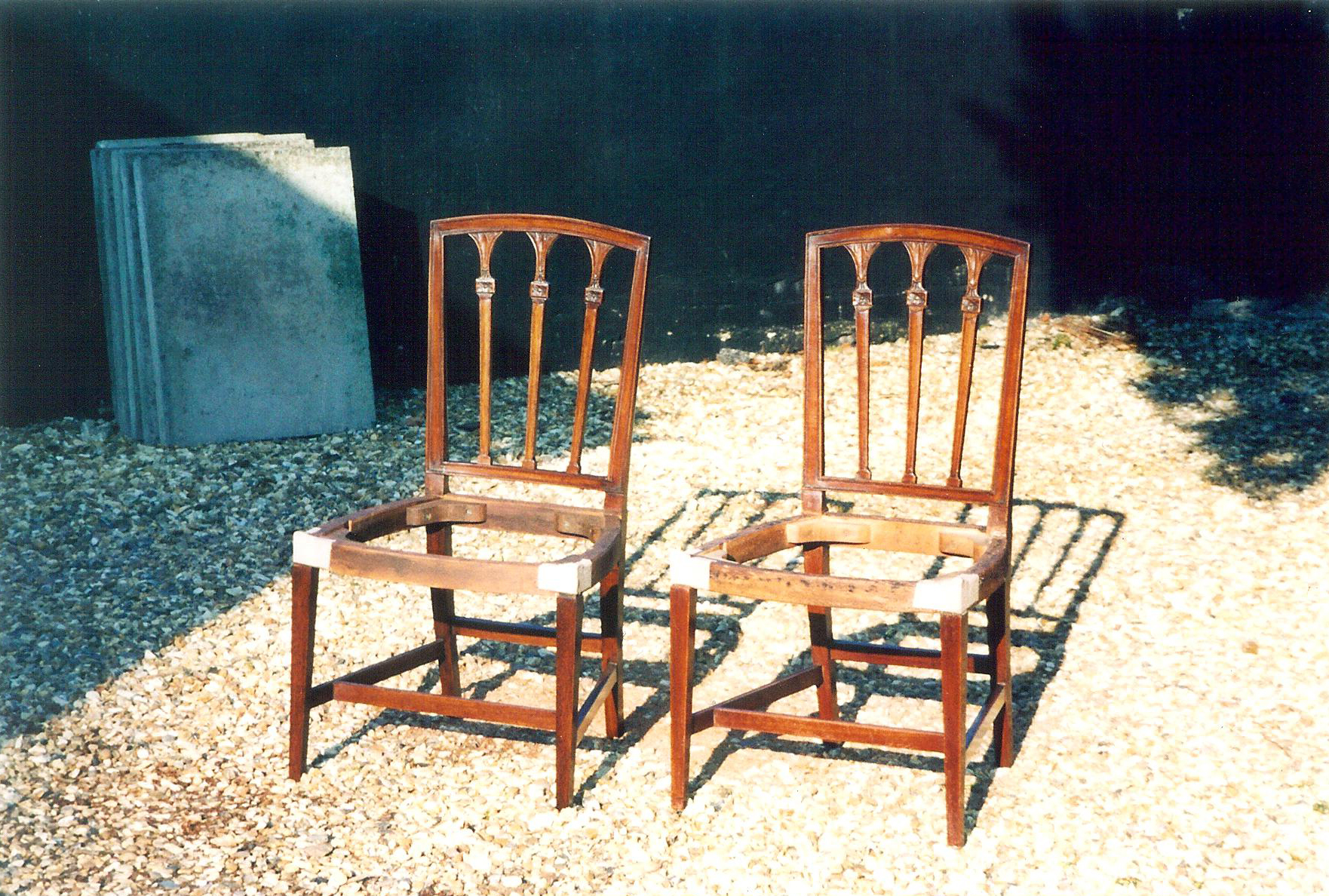 a chair Andrew made (left) to increase a set of 7 to 8.