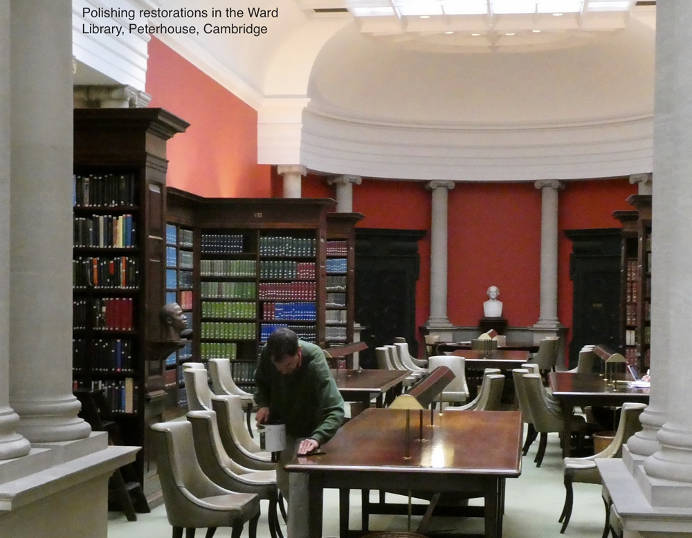 Polishing restoration in the Ward Library, Peterhouse, Cambridge
