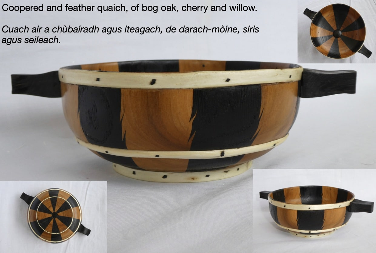 Coopered and feather Quaich of Bog Oak, Cherry and Willow