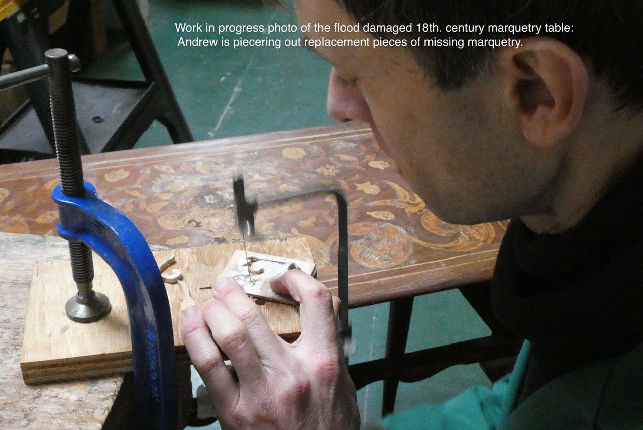 Work in progress on the flood damaged 18th century marquetry table