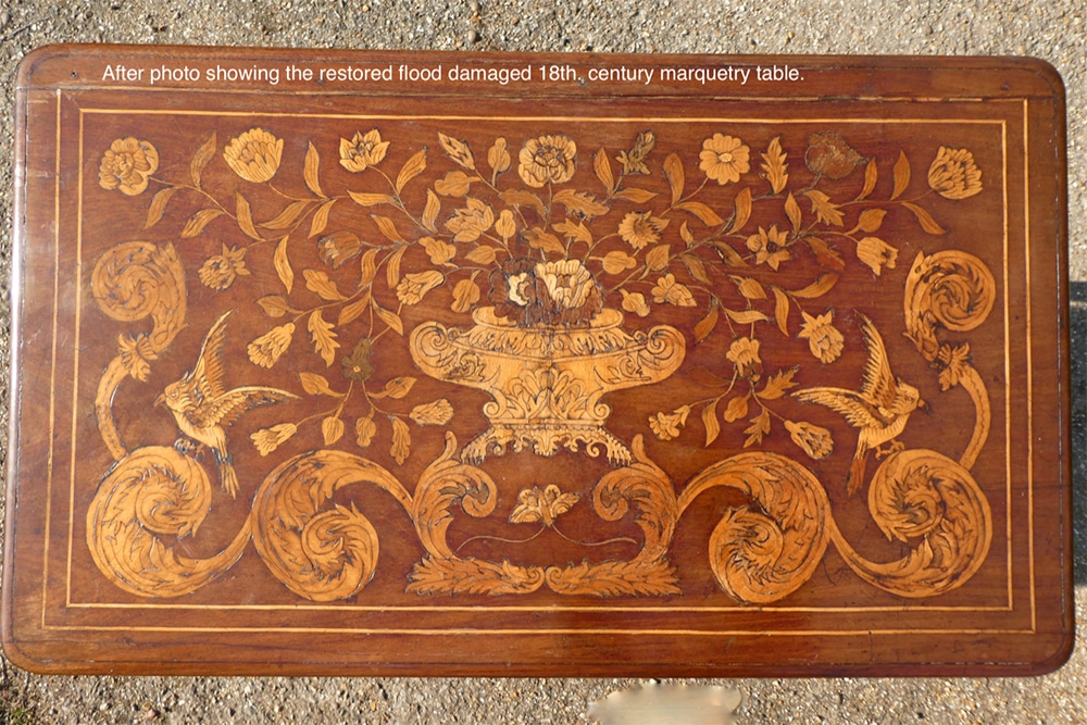 After photo showing the restored flood damaged 18th century marquetry table.