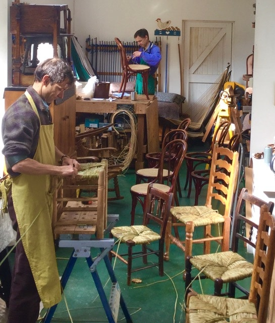 Weaving for Britain and Europe: rush seats from Cornwall to Cromarty for Andrew and cane seats from a Viennese café for Mark.